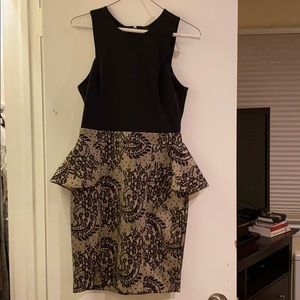 Bebe black peplum cocktail dress